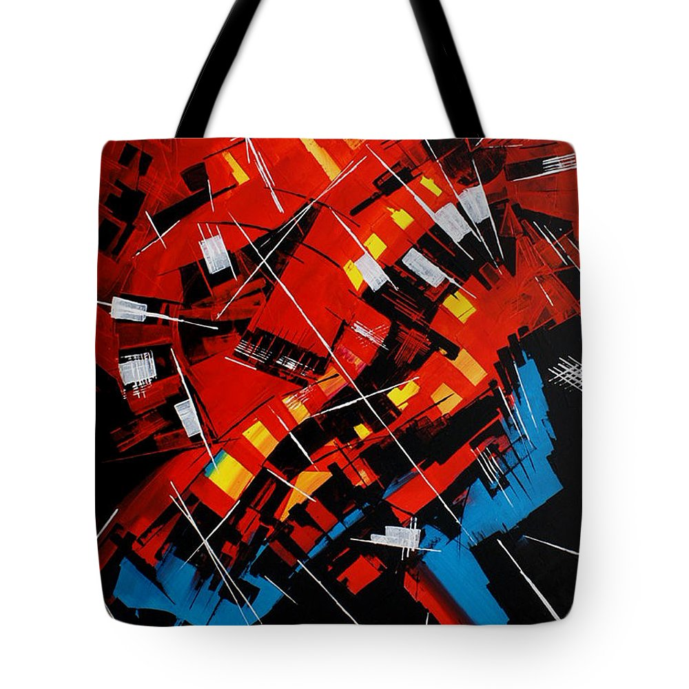 Abstract Tote Bag featuring the painting Urban Communication by Miroslav Stojkovic - Miro