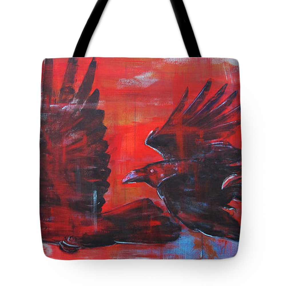 Ravens Tote Bag featuring the painting Urban Sunset by Joseph Rizzo