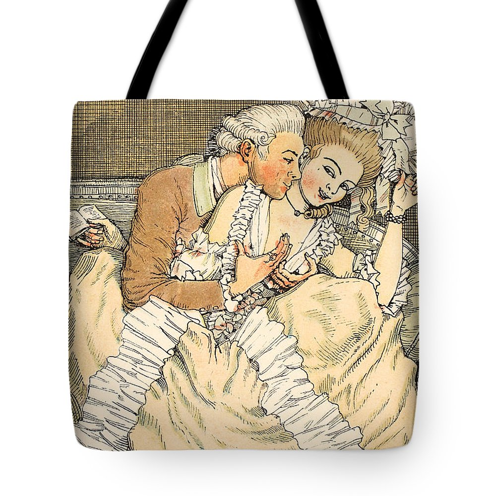 Somov Tote Bag featuring the drawing Urgent Love by Konstantin Andreevic Somov