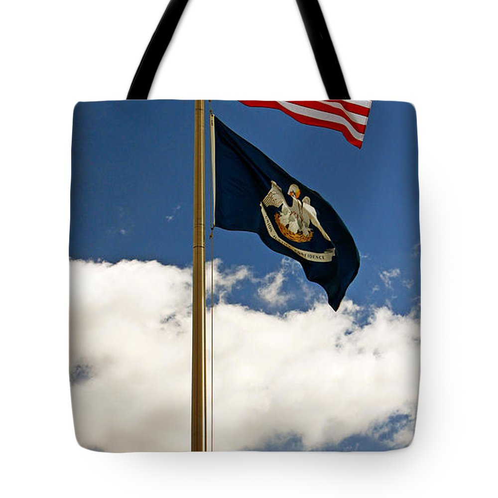 Flags Tote Bag featuring the photograph Us And Louisiana Flag by Earl Johnson