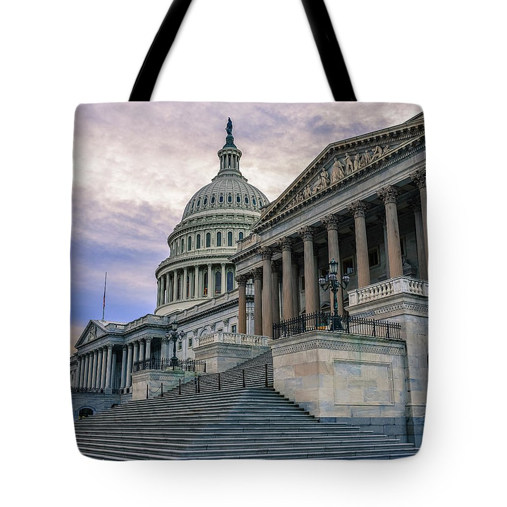Tranquility Tote Bag featuring the photograph Us Capitol Building And Senate Chamber by Mbell