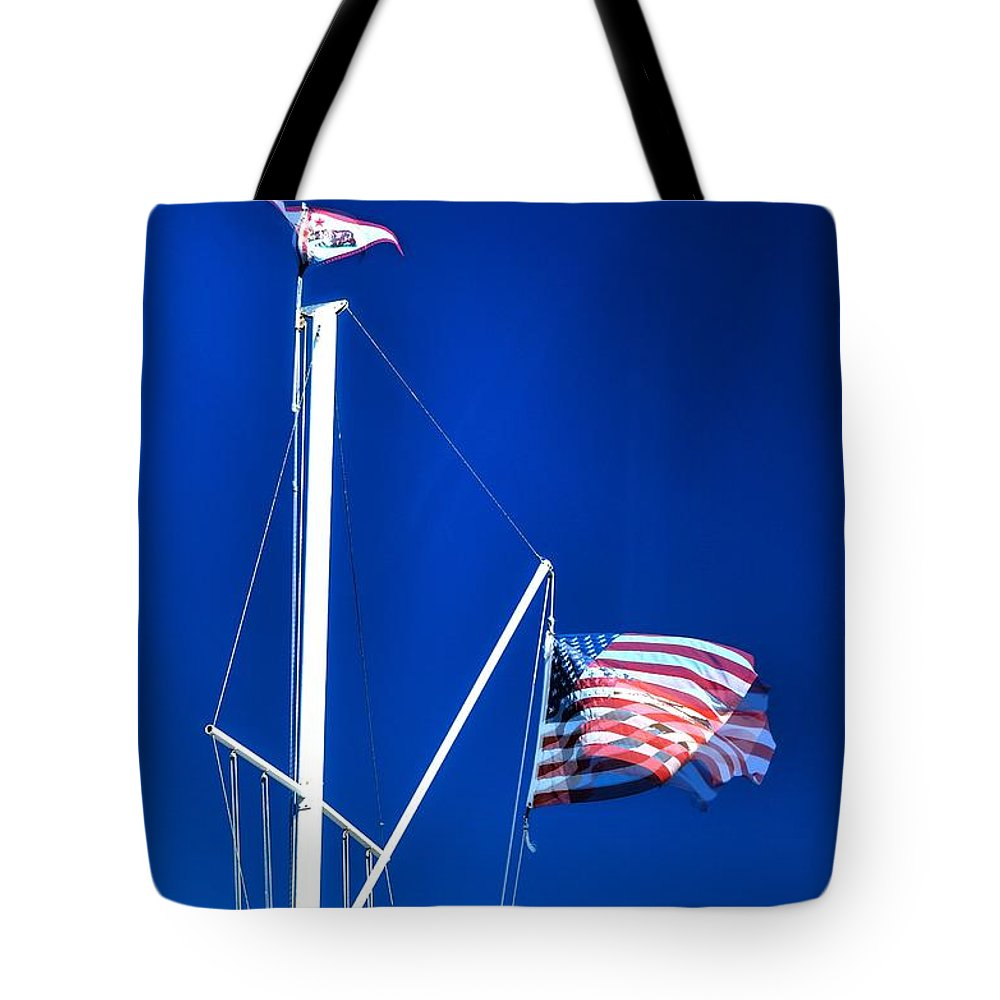 Monterey Tote Bag featuring the photograph Us Flag 19749 by Jerry Sodorff