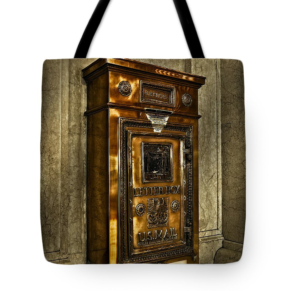 Grand Central Station Tote Bag featuring the photograph Us Mail Letter Box by Susan Candelario