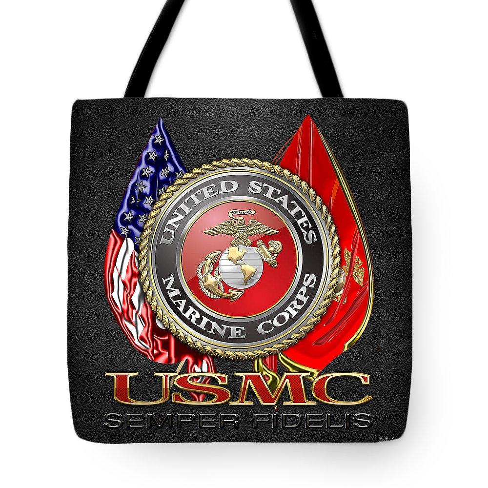 U S Marine Corps U S M C Emblem On Black Tote Bag For Sale By
