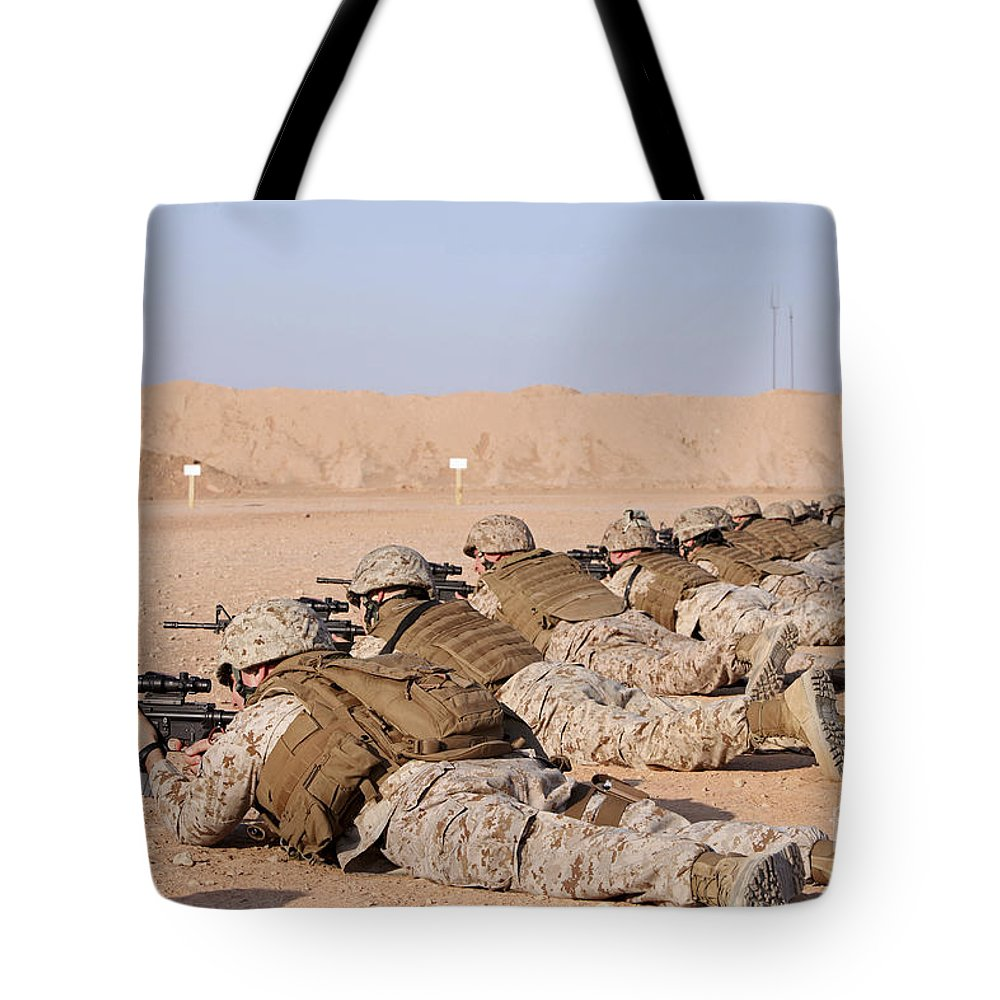 Sight Tote Bag featuring the photograph U.s. Marines Conduct A Battlefield Zero by Stocktrek Images