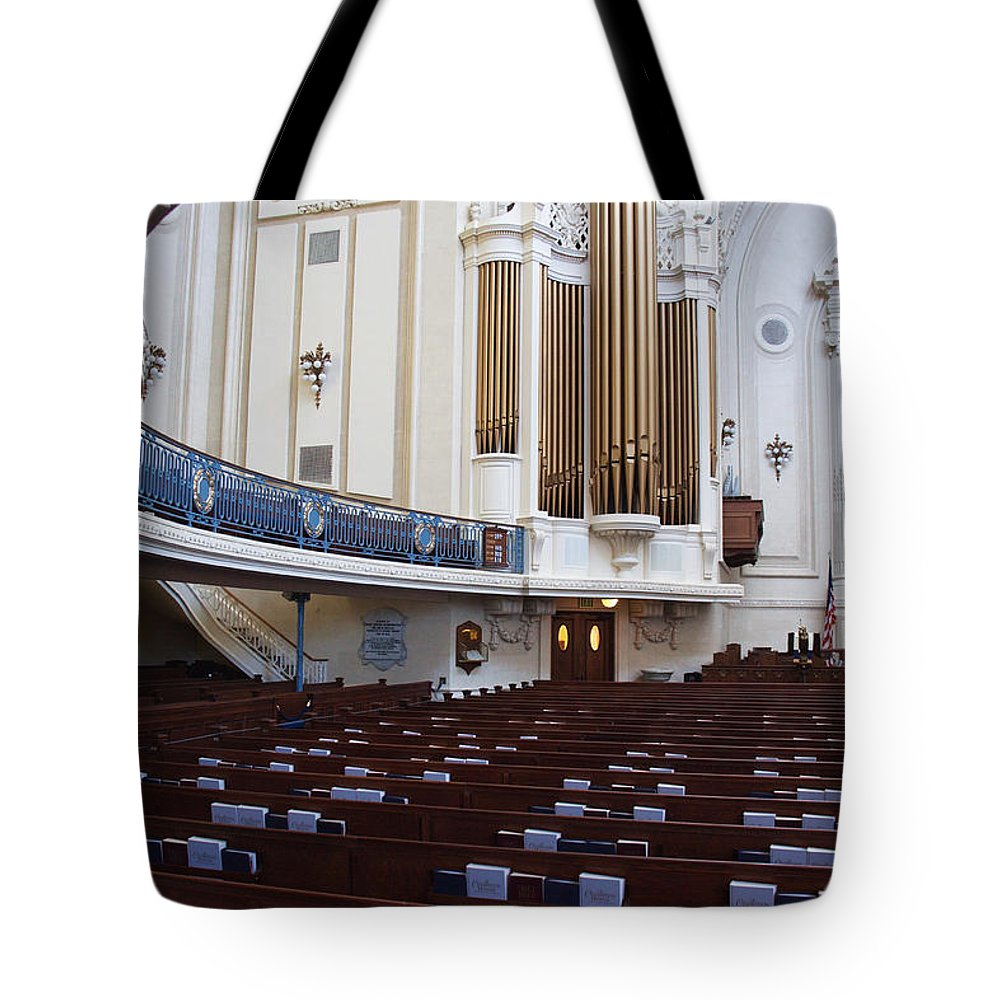 Maryland Tote Bag featuring the photograph Us Naval Academy Chapel by Frank Tozier