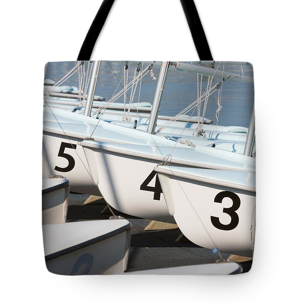 Clarence Holmes Tote Bag featuring the photograph Us Navy Training Sailboats I by Clarence Holmes