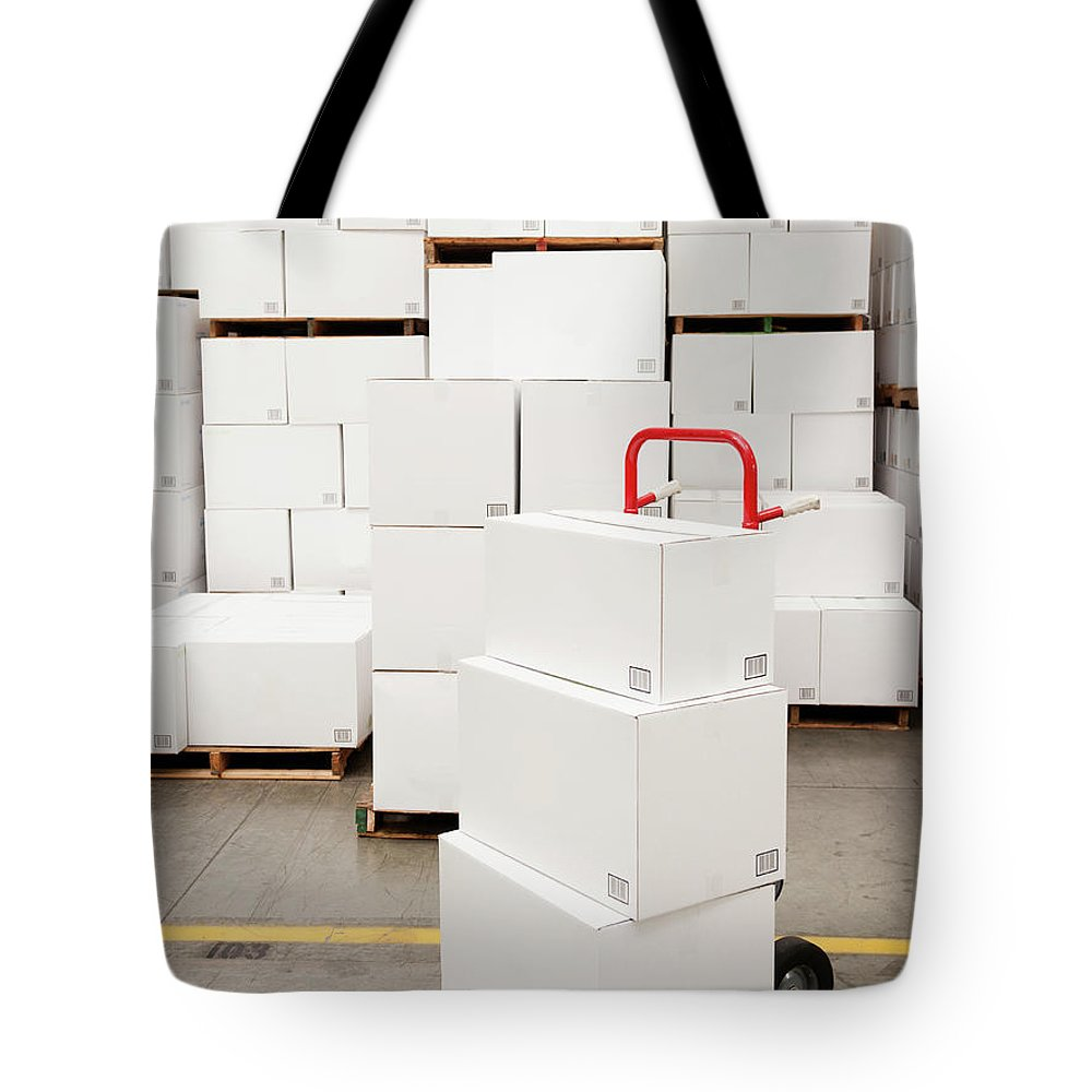 Freight Transportation Tote Bag featuring the photograph Usa, California, Santa Ana, Stack Of by Erik Isakson