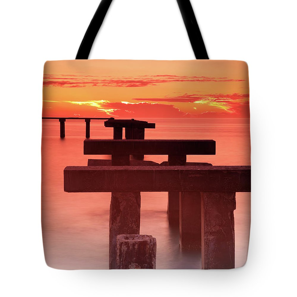Tranquility Tote Bag featuring the photograph Usa, Florida, Boca Grande, Ruined Pier by Henryk Sadura