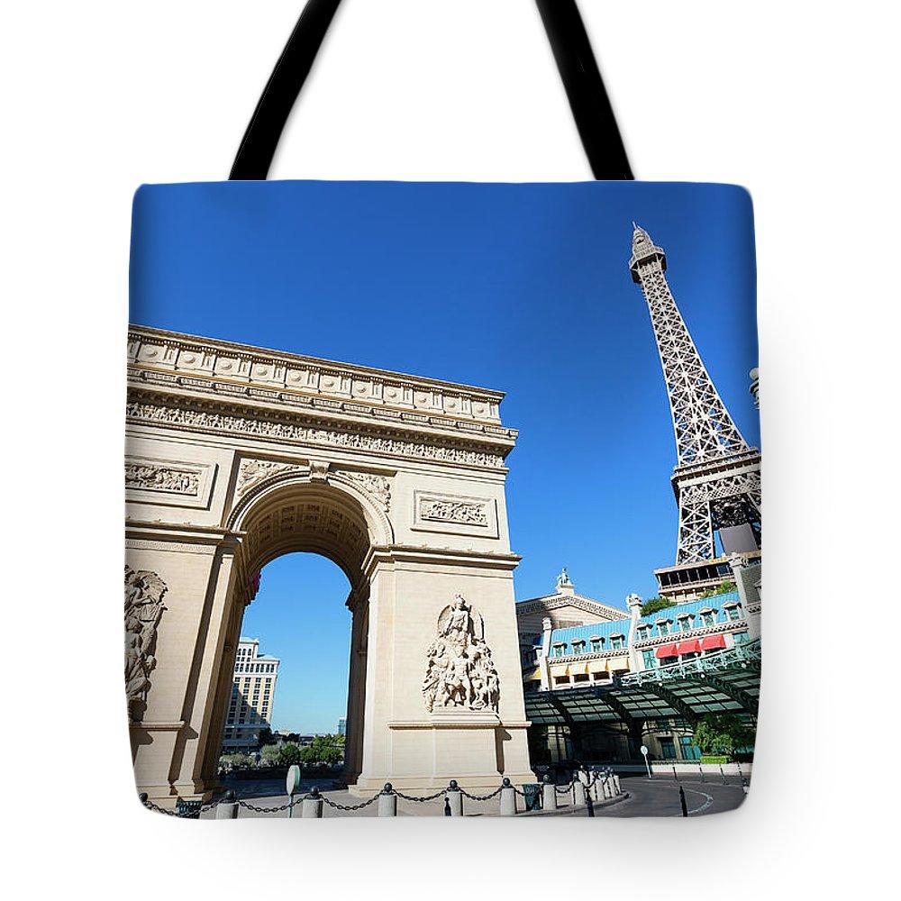 Arch Tote Bag featuring the photograph Usa, Nevada, Las Vegas, Paris Las Vegas by Sylvain Sonnet