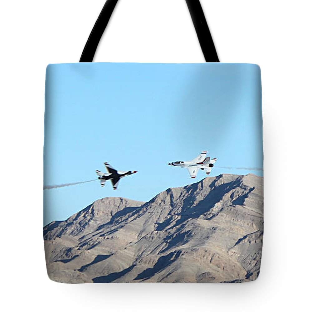 F16s Tote Bag featuring the photograph Usaf Thunderbirds Precision Flying One by Carl Deaville