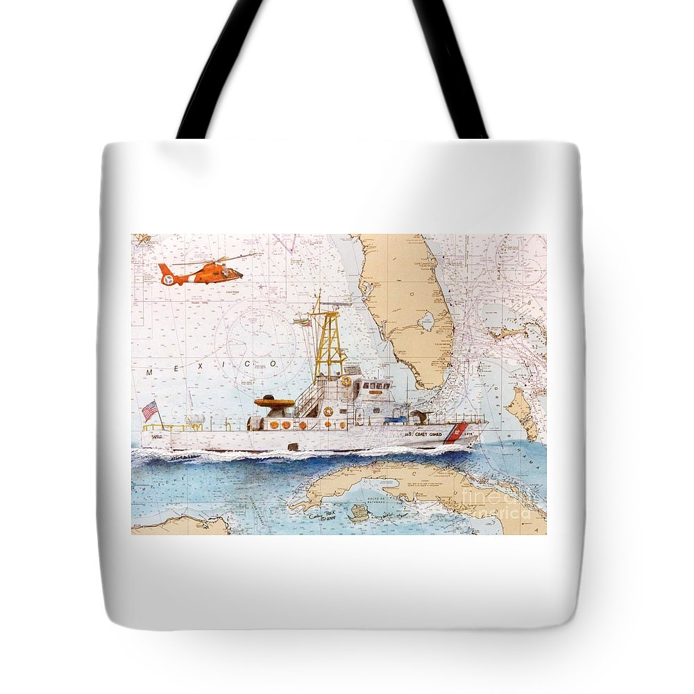 Uscg Tote Bag featuring the painting Uscg Sapelo Helicopter Fl Nautical Chart Map Art Peek by Cathy Peek