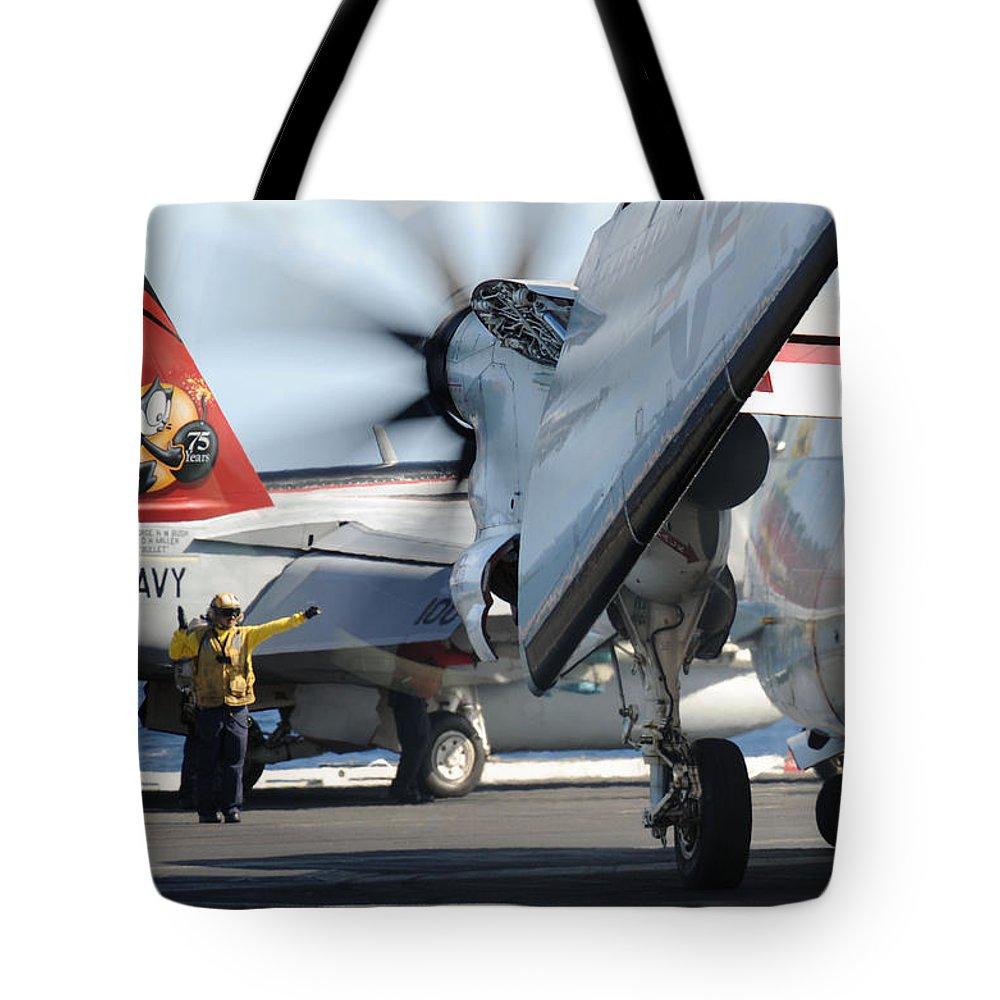 U.s. Navy Tote Bag featuring the digital art Uss George H.w. Bush by Seaman Michael Smevog
