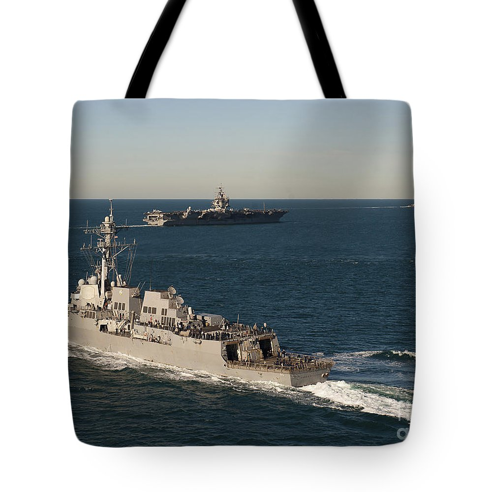 Military Tote Bag featuring the photograph Uss James E. Williams Is Underway by Stocktrek Images