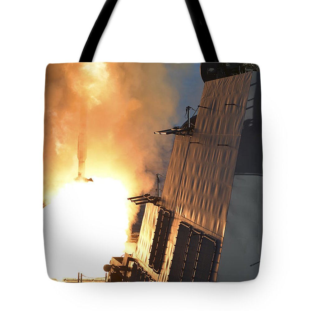 Military Tote Bag featuring the photograph Uss Michael Murphy Fires An Rim-66m by Stocktrek Images
