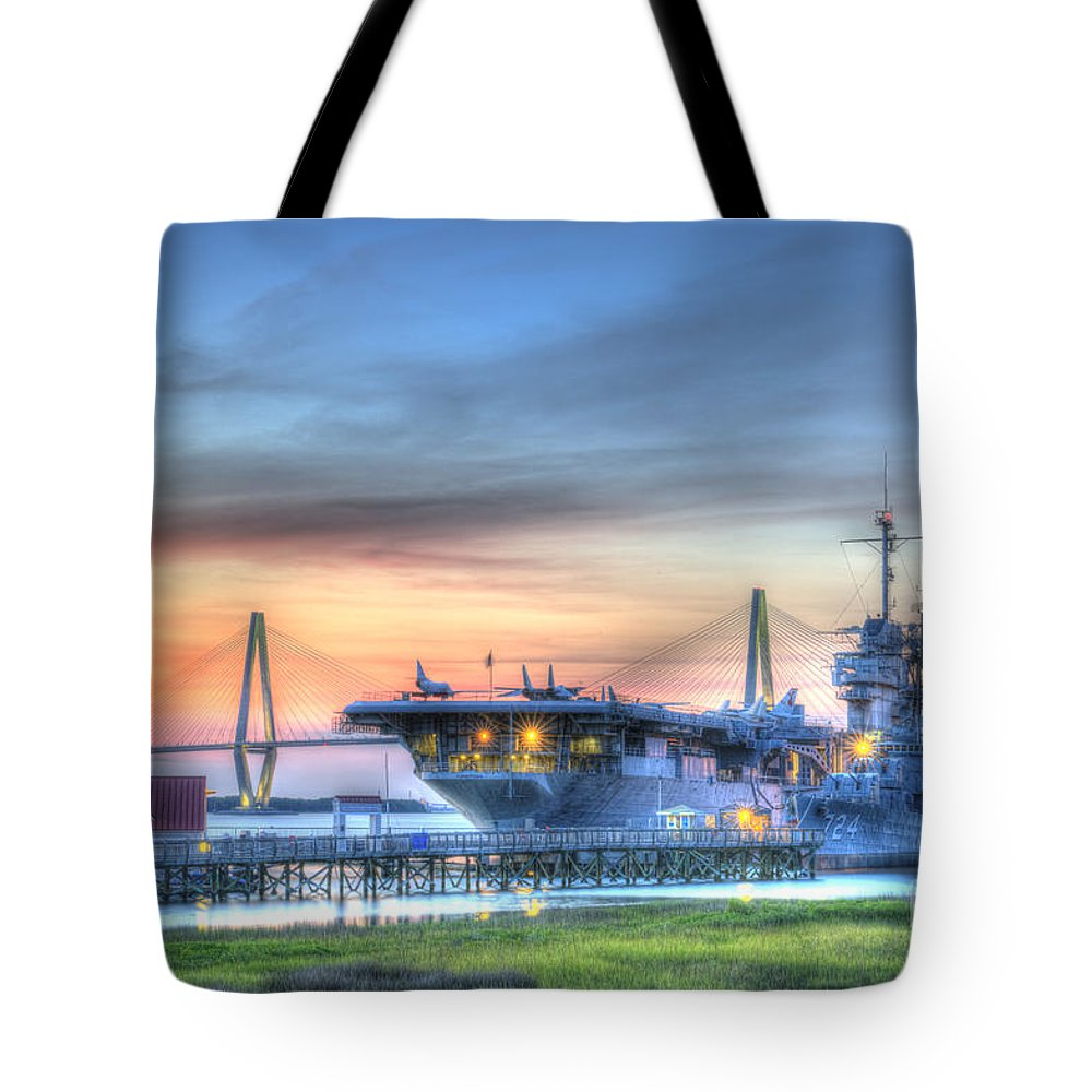 Sunset Tote Bag featuring the photograph Uss Yorktown by Dale Powell