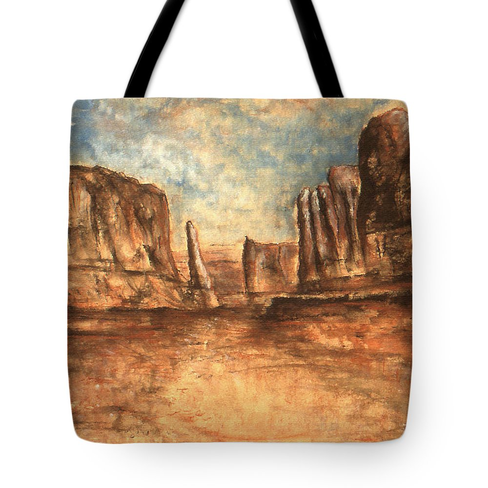 Landscape Tote Bag featuring the painting Utah Red Rocks - Landscape Art by Peter Potter