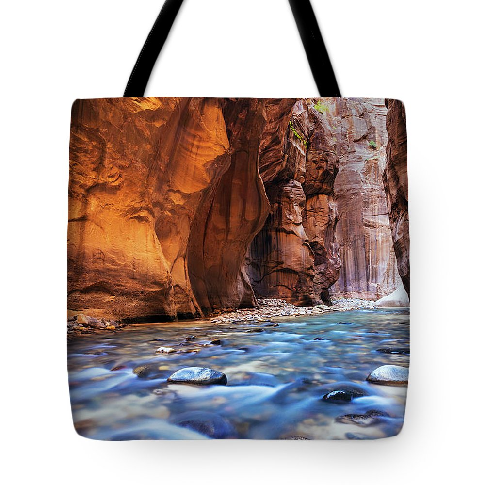 Zion National Park Tote Bag featuring the photograph Utah, Zion National Park, Virgin River by Makena Stock Media