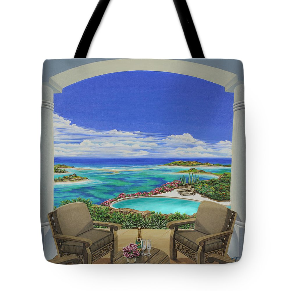 Ocean Tote Bag featuring the painting Vacation View by Jane Girardot