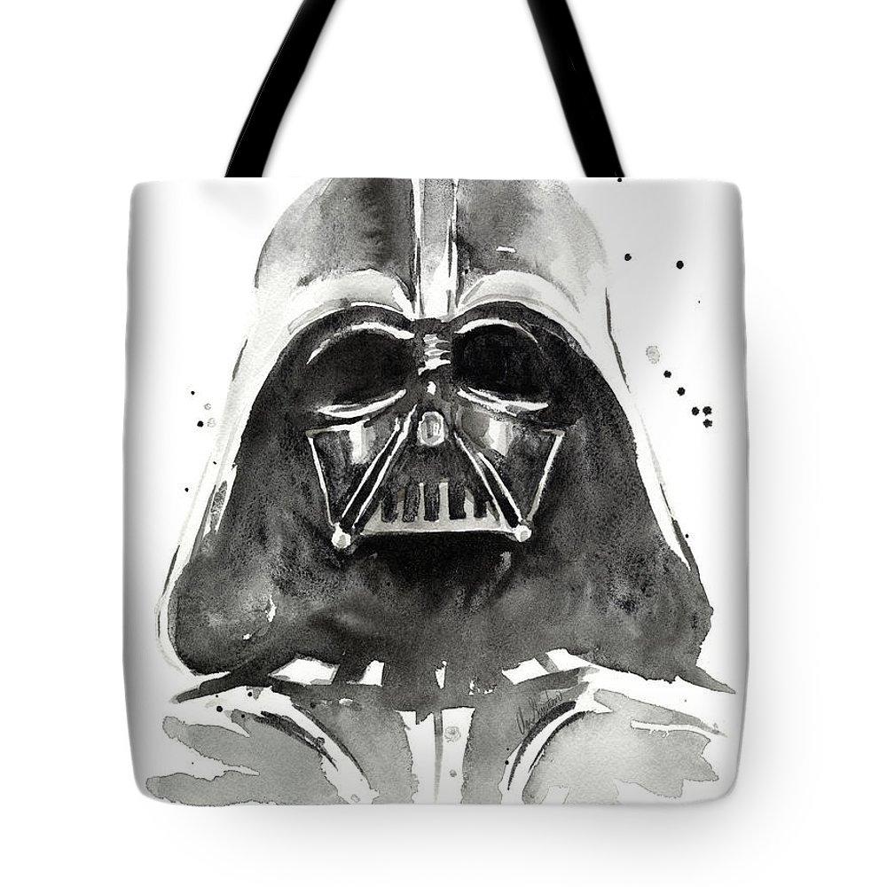Watercolor Tote Bag featuring the painting Darth Vader Watercolor by Olga Shvartsur