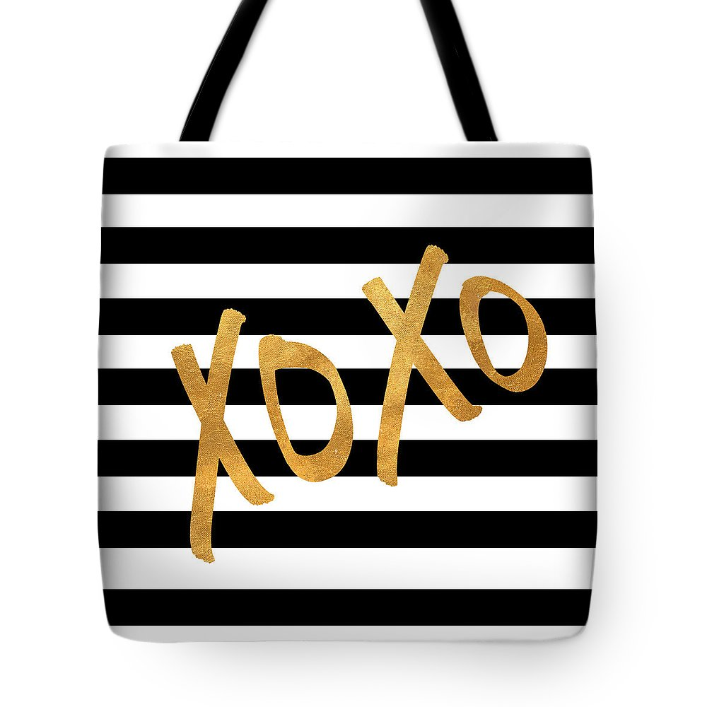 Valentines Tote Bag featuring the digital art Valentines Stripes IIi by South Social Studio
