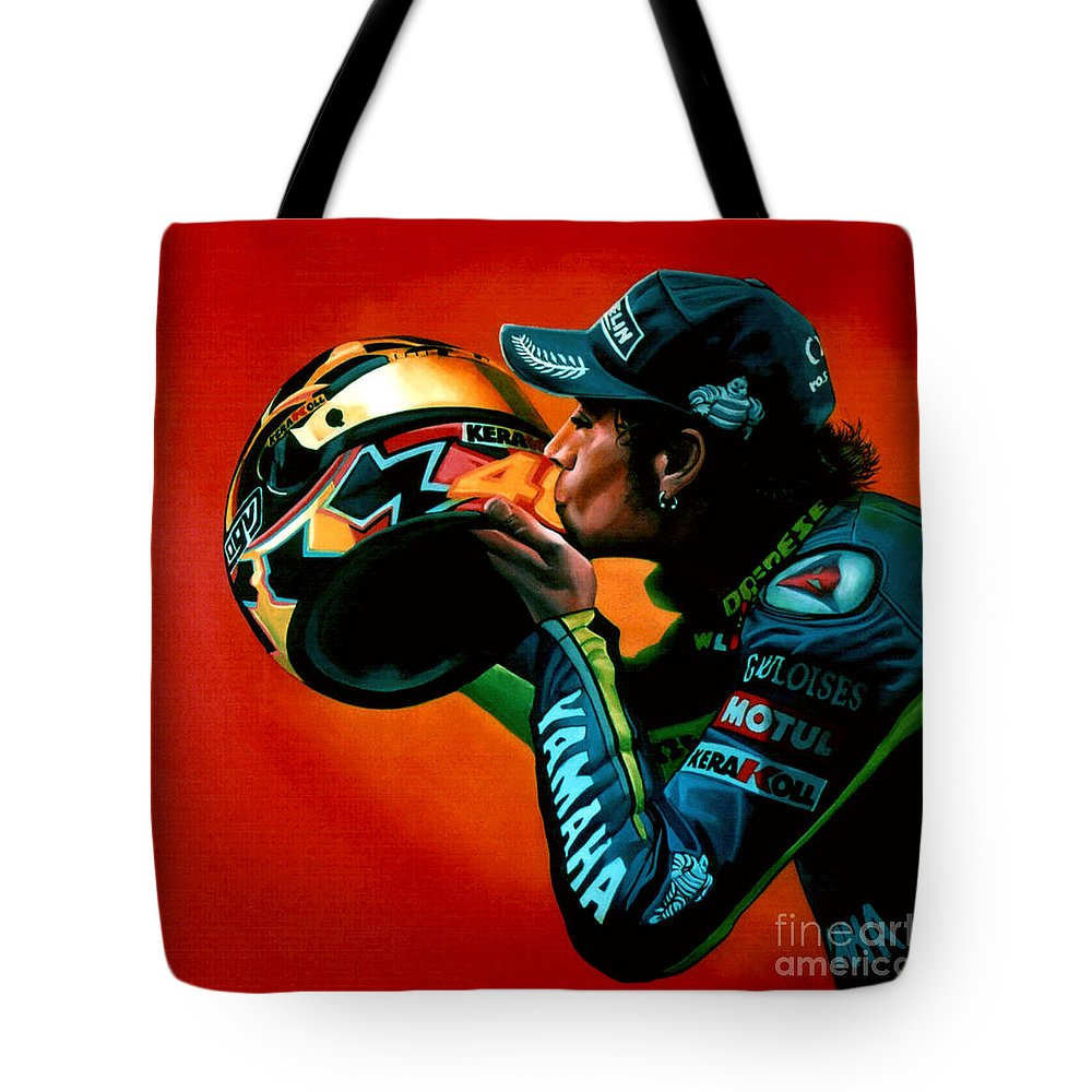 Valentino Rossi Tote Bag featuring the painting Valentino Rossi Portrait by Paul Meijering