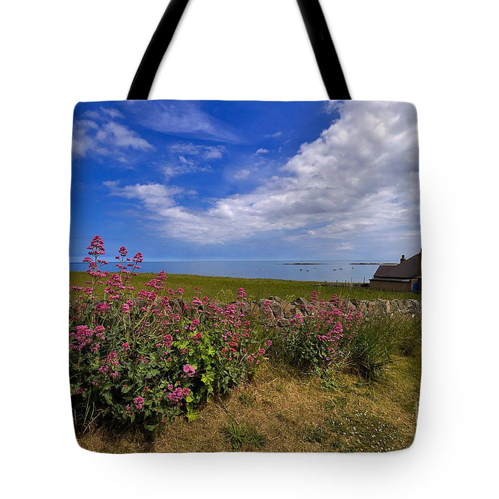Travel Tote Bag featuring the photograph Valerian By A Stone Wall On The Northumberland Coast by Louise Heusinkveld