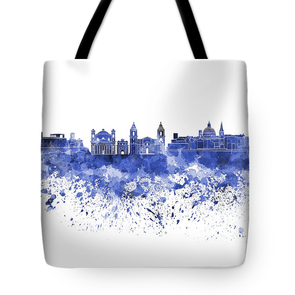 Valletta Tote Bag featuring the painting Valletta Skyline In Blue Watercolor On White Background by Pablo Romero