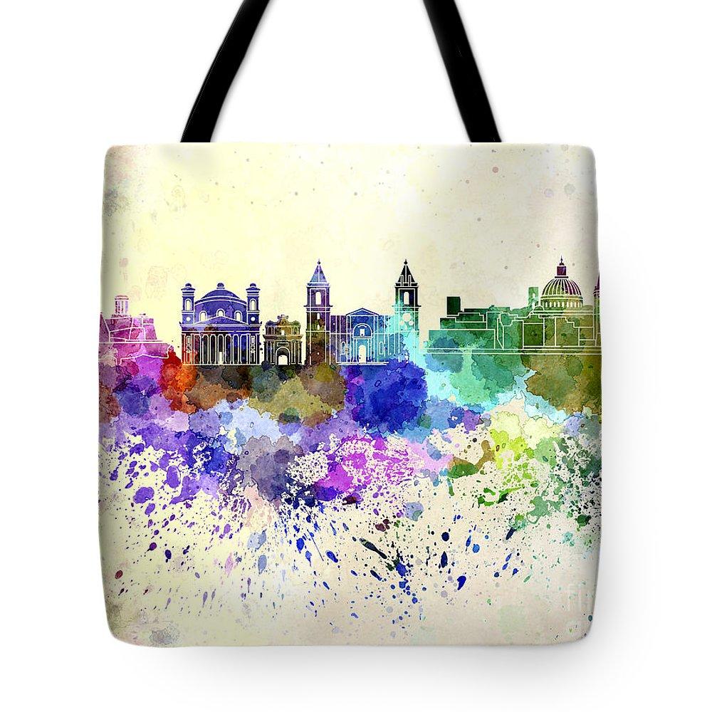 Valletta Skyline Tote Bag featuring the digital art Valletta Skyline In Watercolor Background by Pablo Romero