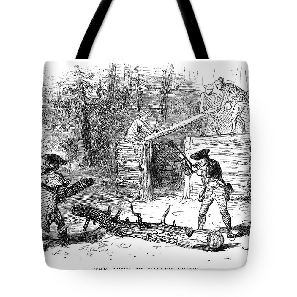 1777 Tote Bag featuring the photograph Valley Forge: Huts, 1777 by Granger