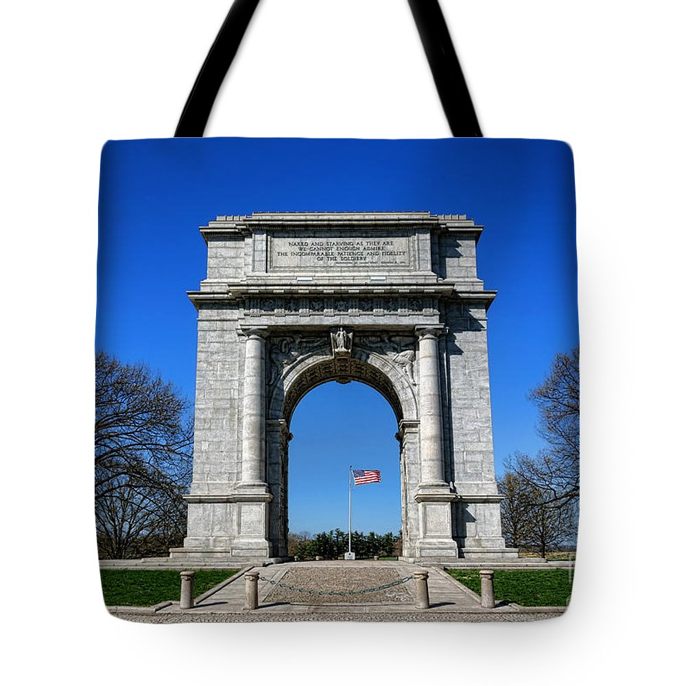 National Tote Bag featuring the photograph Valley Forge Park Memorial Arch by Olivier Le Queinec
