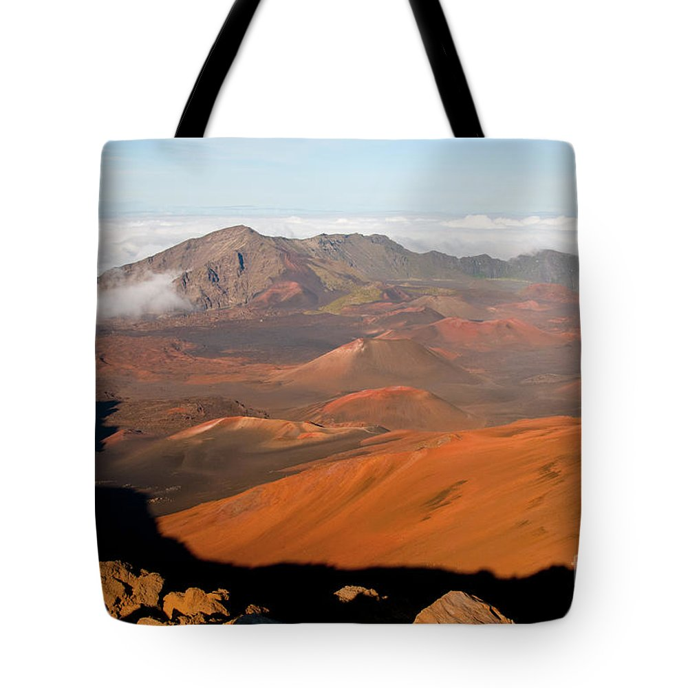 Volcanic Cone Crater Cone Craters Volcano Volcanos Haleakala National Park Volcano Area Maui Hawaii Landscape Landscapes Parks Mountain Mountains Shadow Shadows Landmark Landmarks Tote Bag featuring the photograph Valley Of Volcanic Cones by Bob Phillips