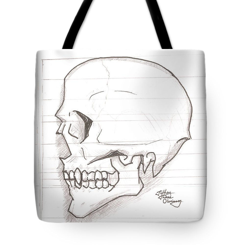 Skull Tote Bag featuring the drawing Vampire Skull by Jeffrey Oleniacz