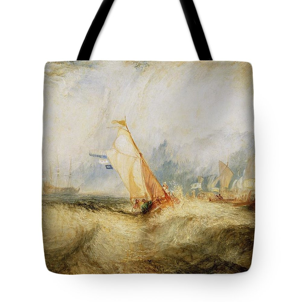 1844 Tote Bag featuring the painting Van Tromp Going About To Please His Masters by JMW Turner