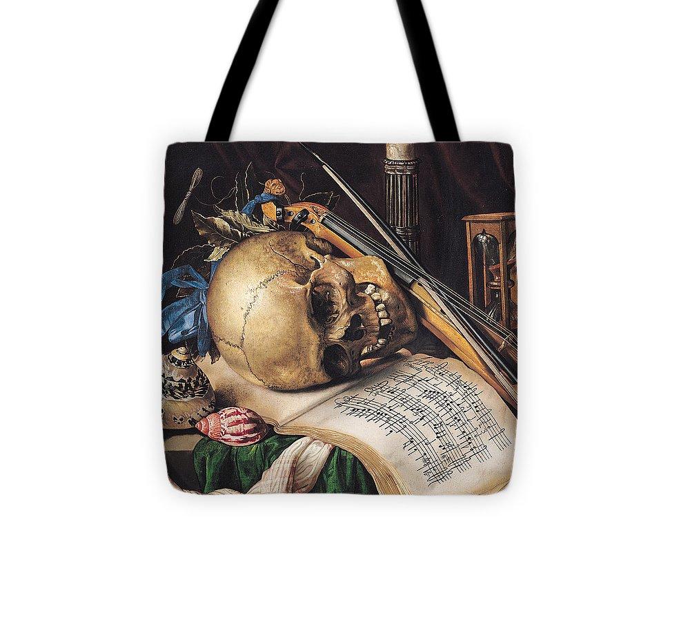 Skull Tote Bag featuring the painting Vanitas by Simon Renard de Saint Andre