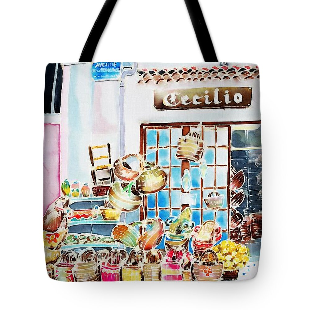 France Tote Bag featuring the painting Vannerie by Hisayo Ohta