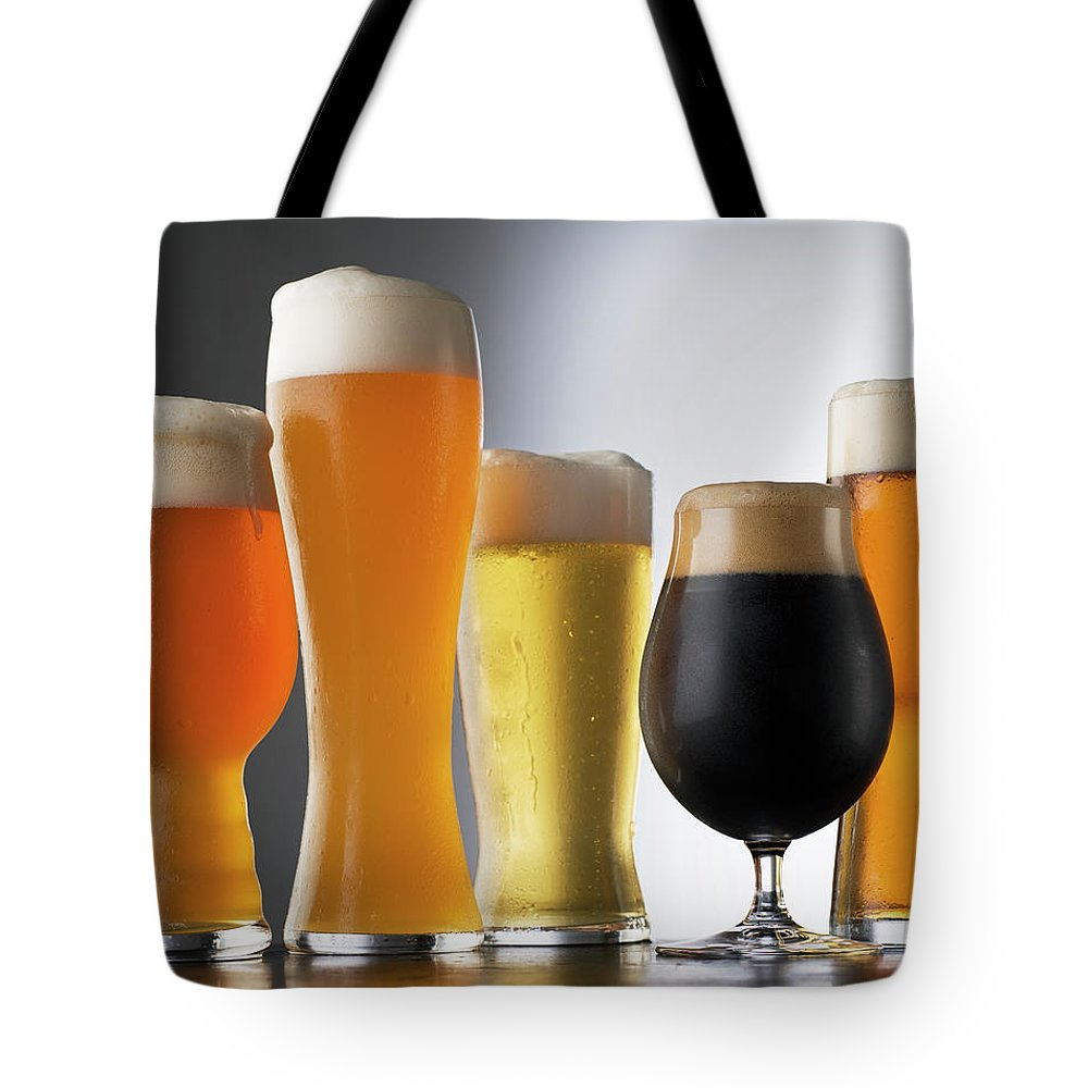 Five Objects Tote Bag featuring the photograph Variety Of Beer Glasses by Jack Andersen