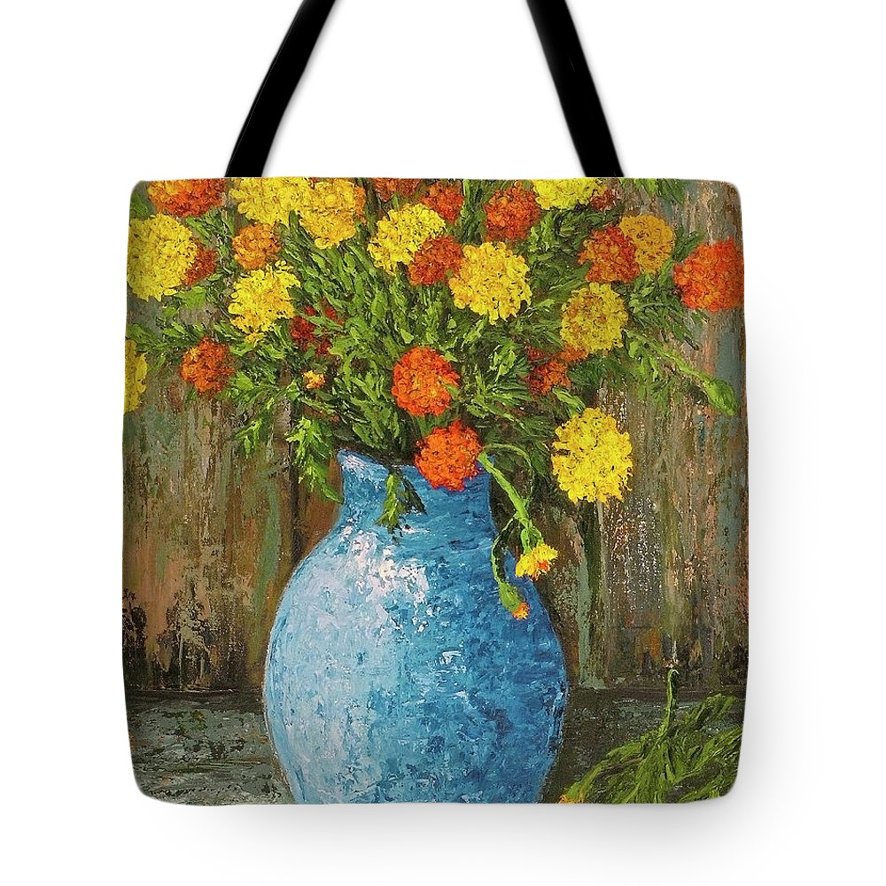Impressionistic Tote Bag featuring the painting Vase Of Marigolds by Darice Machel McGuire