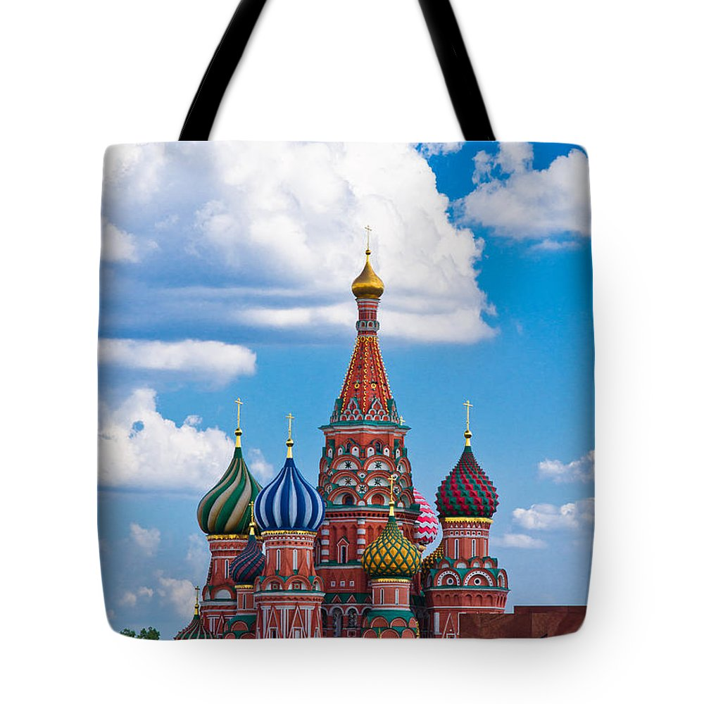 Featured Tote Bag featuring the photograph Vasily The Blessed Cathedral And The Red Square Of Moscow - Featured 3 by Alexander Senin