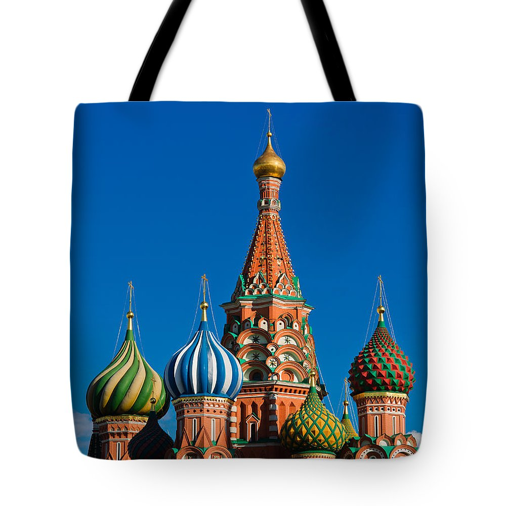 Featured Tote Bag featuring the photograph Vasily The Blessed Cathedral On Moscow Red Square - Featured 2 by Alexander Senin