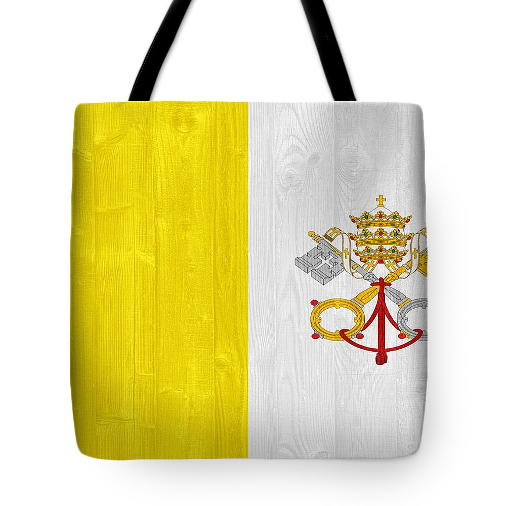 Vatican Tote Bag featuring the photograph Vatican City Flag by Luis Alvarenga