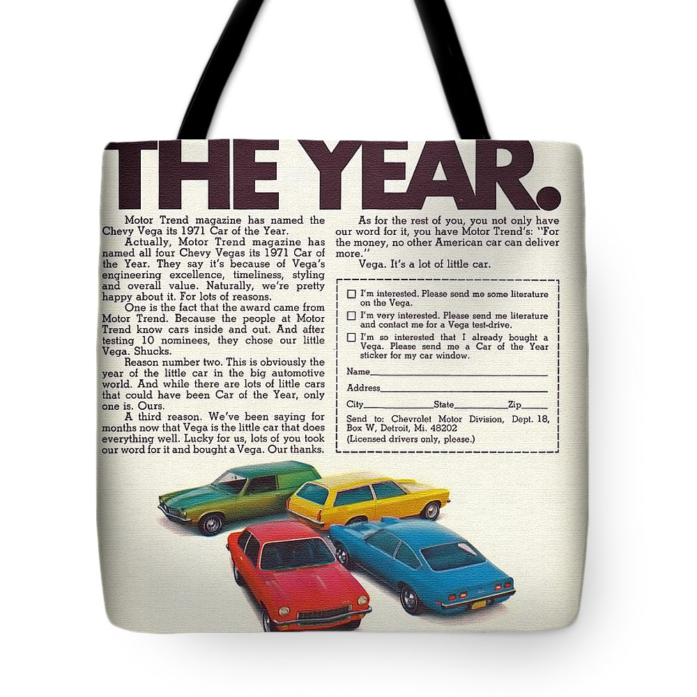 Gm Tote Bag featuring the photograph Vega - Car Of The Year 1971 by Mountain Dreams