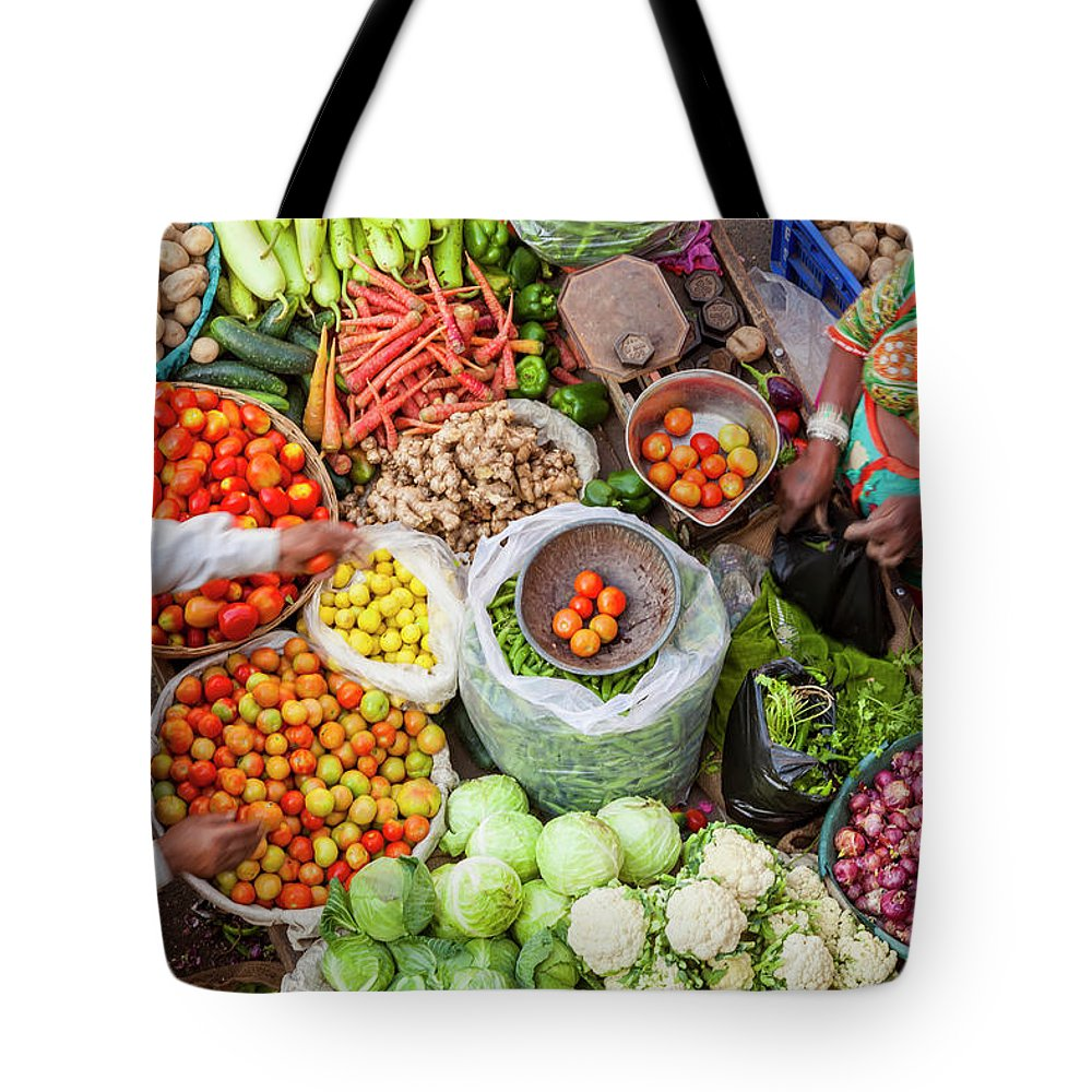 Trading Tote Bag featuring the photograph Vegetable Stall, Pushkar, Rajasthan by Peter Adams