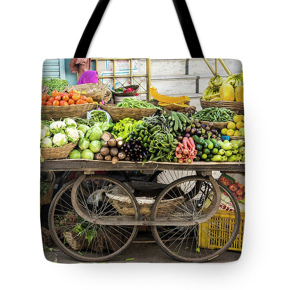 Retail Tote Bag featuring the photograph Vegetable Trolley, Udaipur, Rajasthan by John Harper