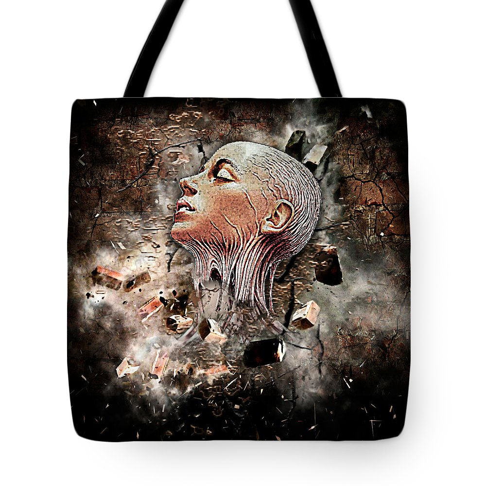 Abstract Tote Bag featuring the digital art Veins by Marina Vergult