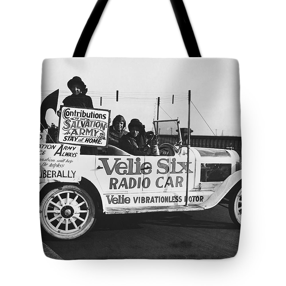 1920s Tote Bag featuring the photograph Velie Six Radio Car by Underwood & Underwood