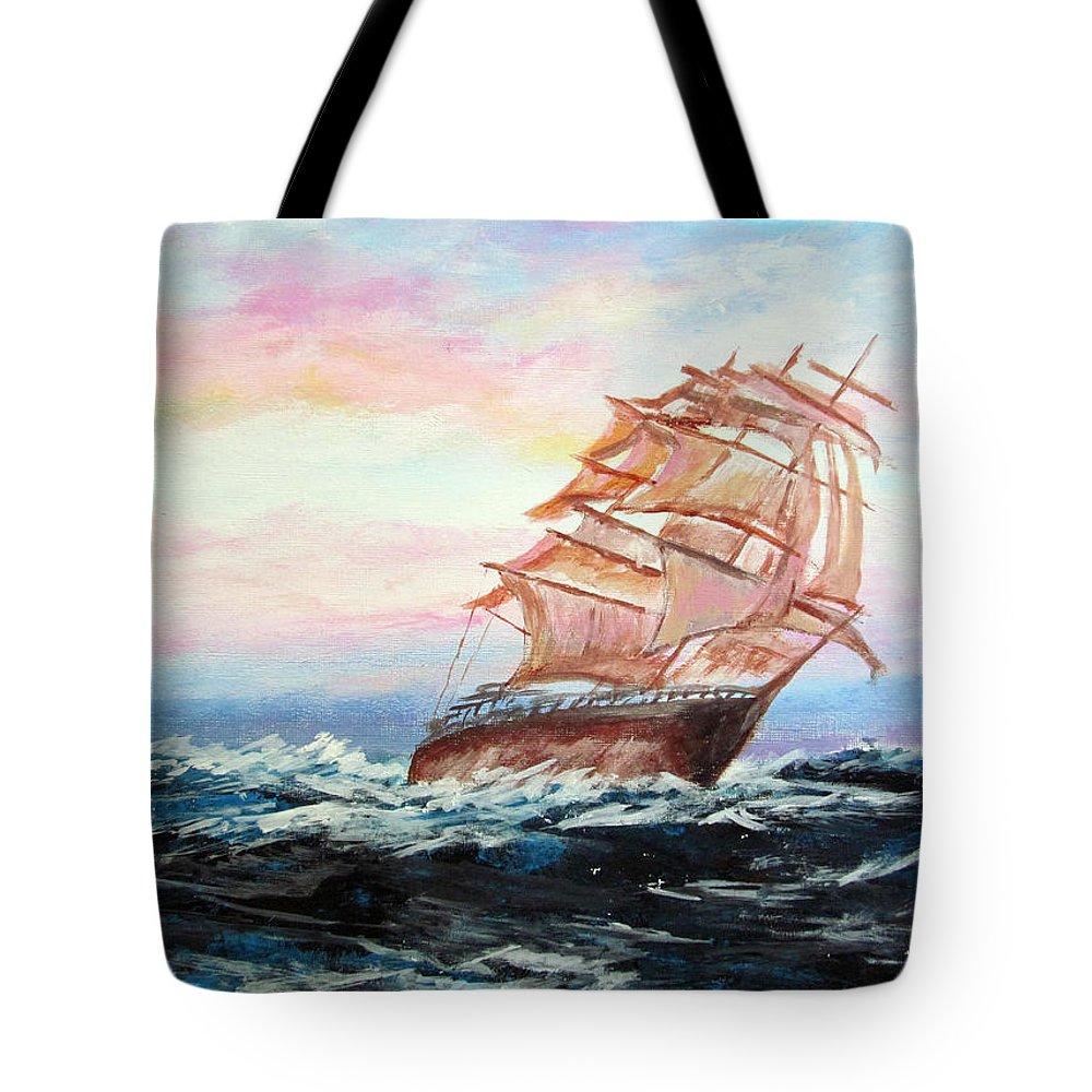 Piero C - Veliero In Navigazione - Tallship Navigation - Fine Art Paintings Tote Bag featuring the painting Veliero In Navigazione by Piero C