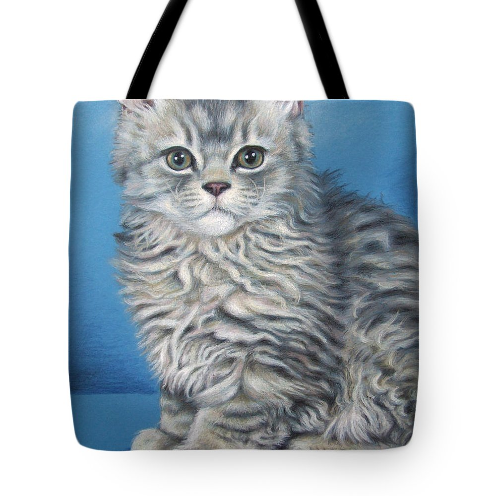 Cat Tote Bag featuring the drawing Velvet Kitten by Nicole Zeug