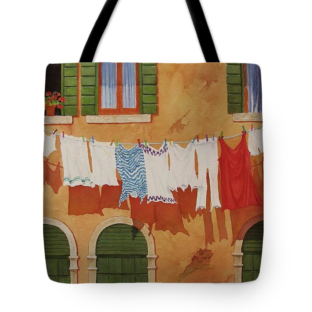 Venice Tote Bag featuring the painting Venetian Washday by Mary Ellen Mueller Legault