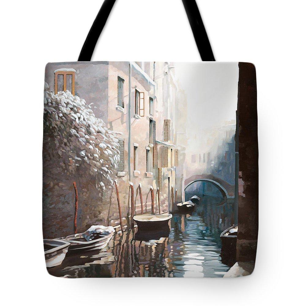 Venice Tote Bag featuring the painting Venezia Sotto La Neve by Guido Borelli